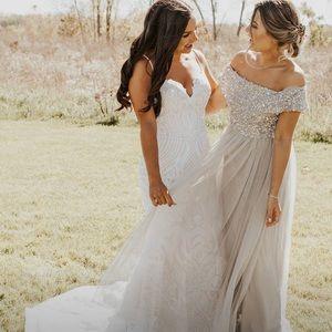 0d5fcd2efc6 ASOS Dresses - ASOS Gray Sequin Tulle Bridesmaid Dress